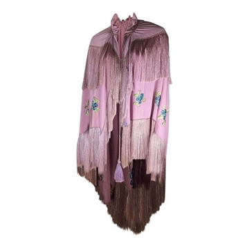 Vintage 1930's Embroidered Silk pink Cape