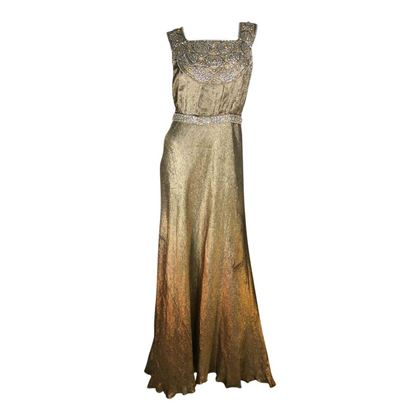 Vintage 1930's full length gold maxi dress
