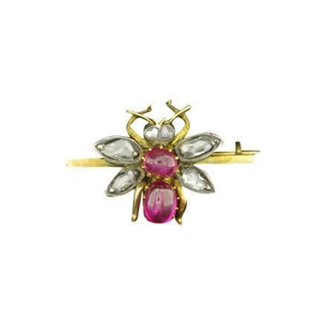Picture of Antique Edwardian Ruby and Diamond Bug Brooch
