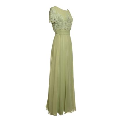 Jack Bryan 1960s Beaded Chiffon Evening Green Vintage Dress