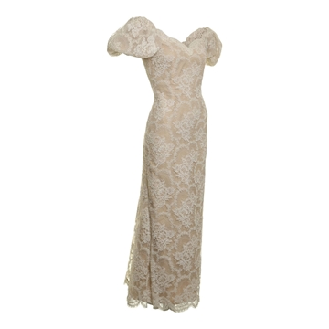 Victor Costa 1980's Chantilly Lace Cream Vintage Dress