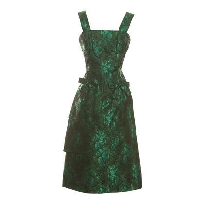 Kitty Copeland 1960s Brocade Satin Cocktail Green Vintage Dress