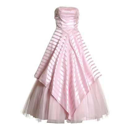 Vintage 1950s Chevron Striped Full Length Pink Dress