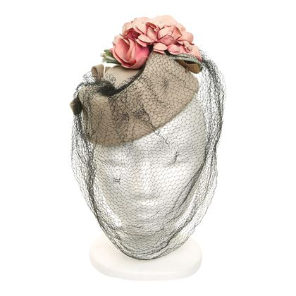 Vintage 1940s Topper with Roses Pink Hat