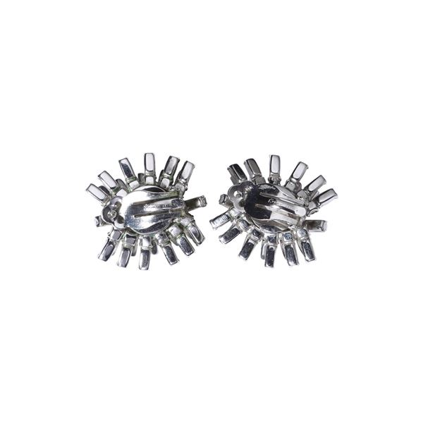 Kramer 1960s Baguette Rhinestone Metallic Vintage Earrings