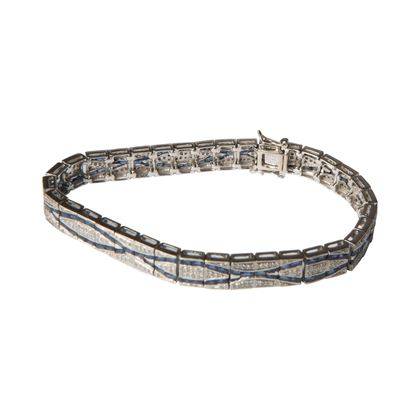 Vintage Art Deco sapphire and brilliant cut diamond bracelet