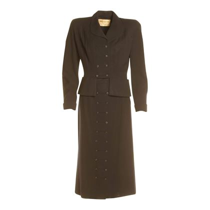 Vintage 1940s Two-Piece Wool Navy Skirt Suit