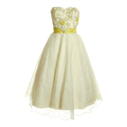 Karen Stark 1950s Lace Strapless Cream Vintage Dress