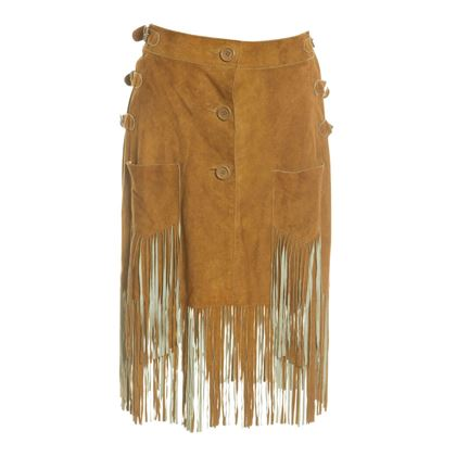 e68ee204806 ... Christian Dior 1970s Soft Suede Fringed Brown Vintage Skirt