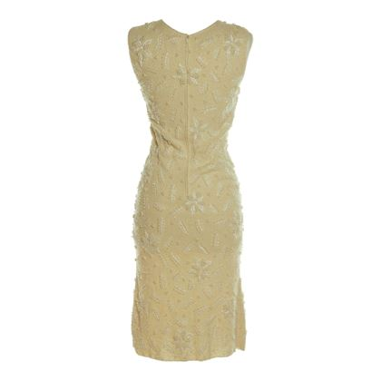 Chez Royale 1960s Terry Knit Embellished White Vintage Dress