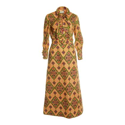 Vintage 1960s Thai Style Patterned Two-Piece Multicoloured Shirt & Skirt