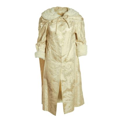 Harvey Nichols of Knightsbridge 1950s Brocade White Vintage Coat