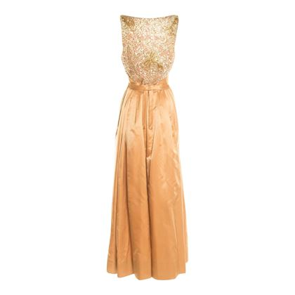 Neiman Marcus 1950's Satin Evening Caramel Vintage Dress
