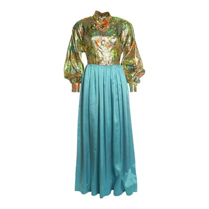 Vintage 1960s Silk Lamé & Satin Evening Metallic Dress
