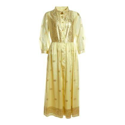 Lounge Craft Chiffon Maxi Yellow Vintage Dress