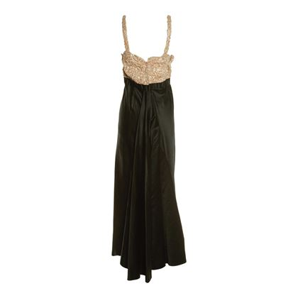 Pattullo Jo Copeland 1950s Satin Evening Black Vintage Dress