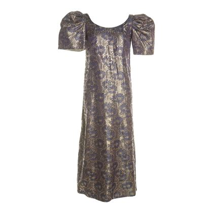 Vintage 1960s Full Length Evening Metallic Dress