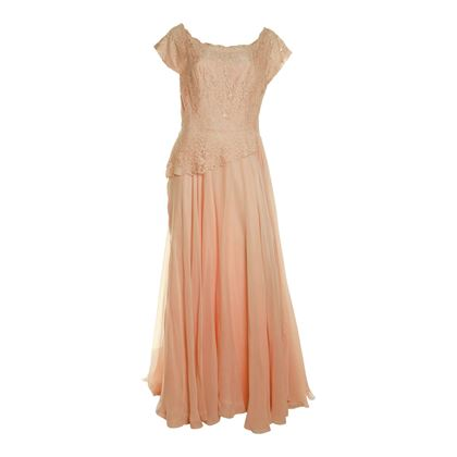 Vintage 1940s Silk & Lace Evening Orange Dress