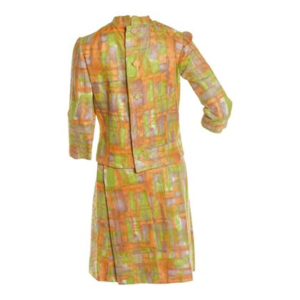 Vintage 1960s Woven Printed Two Piece Orange Skirt Suit