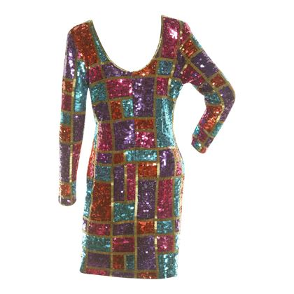 Adrienne Vittadini 1980s Sequinned Party Multicoloured Vintage dress