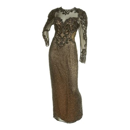 Peak Evenings 1980s Sheer Embellished Evening Black Vintage Dress