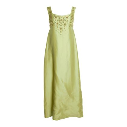 Bianchi 1960s Pearl & Bead Embellishment Green Vintage Dress