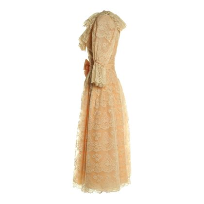 Victor Costa 1980s Lace Cream Vintage Dress