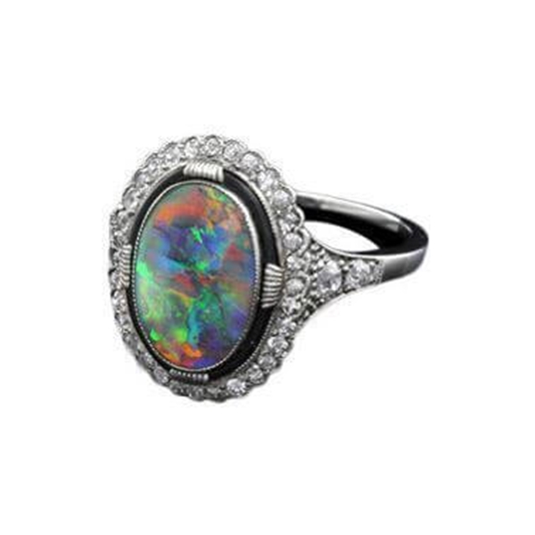 Antique Edwardian black opal and diamond ring