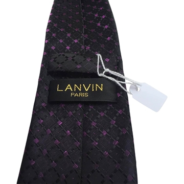 Lanvin Pure Silk Woven Navy and Purple Vintage Tie