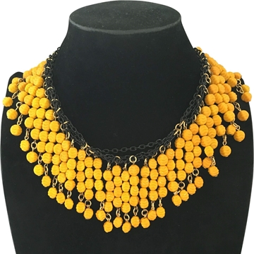 Vintage textured Opaque yellow Glass Necklace