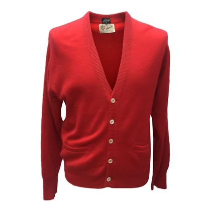 Bullock's Pasadena 1980s Church Cashmere Red Vintage Cardigan