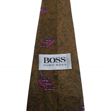 Hugo Boss 1990s Car Print Brown Vintage Tie