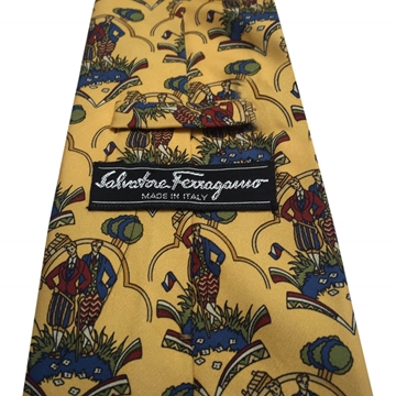 Salvatore Ferragamo Patterned Yellow Vintage Tie