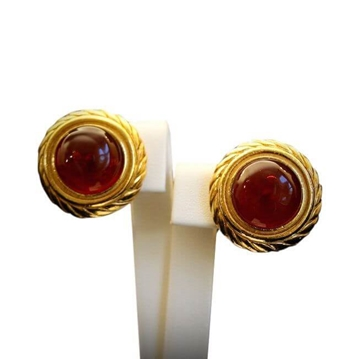 Chanel 1980s Glass Red Vintage Earrings