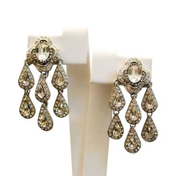 Attwood and Sawyer 1980s Rhinestone Metallic Vintage Earrings