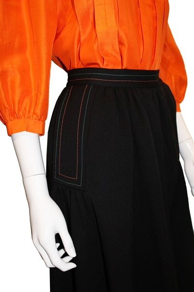 Bill Gibb 1970s wool black vintage Skirt