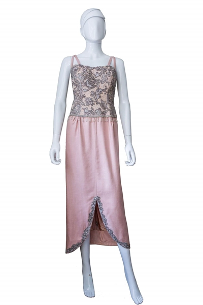 Vintage 1960s embellished pink Evening Dress