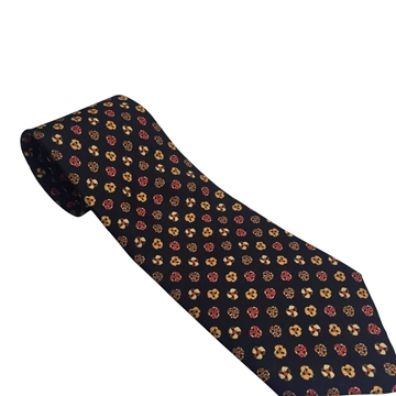 Salvatore Ferragamo Floral Silk Patterned Black Vintage Tie