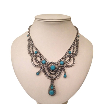Vintage 1940s diamante & faux turquoise necklace
