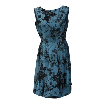 Vintage 1950s floral print blue Cocktail Dress