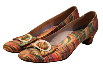 Vintage 1960s Psychedelic Printed Silk Shoes