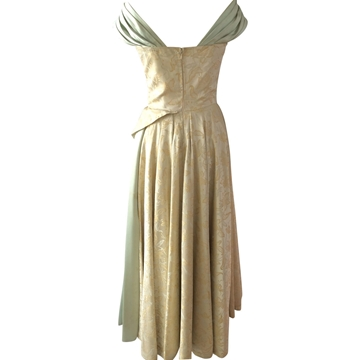 Vintage 1950's Satin Mint green Ball Gown