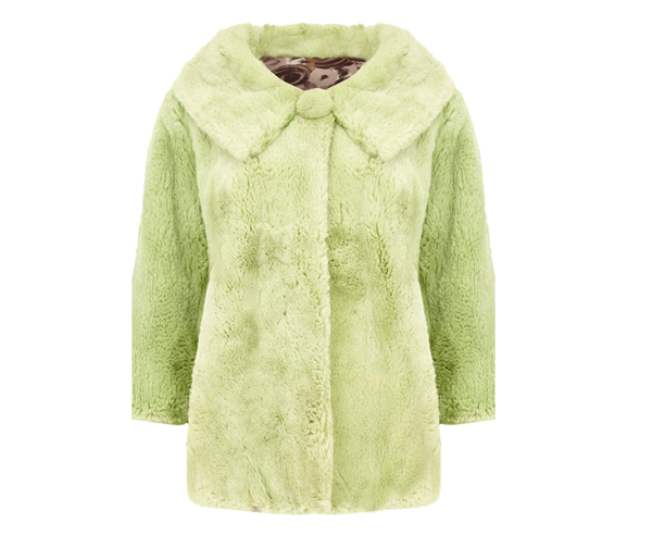 Vintage 1960's Rabbit Fur pale green Jacket | Open for Vintage
