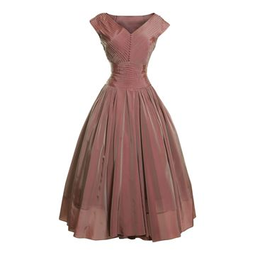 Fred Perlberg 1950s Iridescent Taffeta Pink Vintage Dress