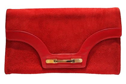 Vintage 1980s leather & suede red Clutch Bag