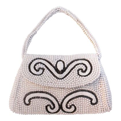 Vintage 1950s pearl & Beaded white Handbag