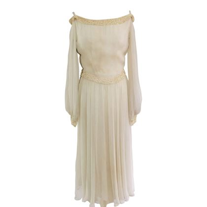 Vintage 1930s Embellished Chiffon Wedding Dress