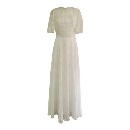 Vintage 1960's Lace A-line Wedding Dress & Cape