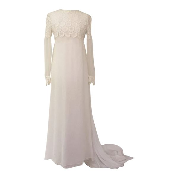 Harrods 1960\'s Crochet Lace & Chiffon vintage Wedding Dress | Open ...