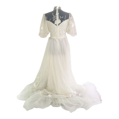 Vintage 1980s Illusion Neck vintage wedding dress